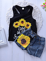 cheap -Kids Girls' Active Basic School Daily Wear Sun Flower Floral Patchwork Sleeveless Regular Short Clothing Set White