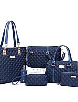 cheap -Women's Zipper PU Bag Set Solid Color 6 Pieces Purse Set Black / Purple / Fuchsia