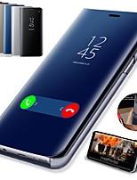 Недорогие -Кейс для Назначение SSamsung Galaxy Galaxy S10 / Galaxy S10 Plus со стендом / Покрытие / Зеркальная поверхность Чехол Однотонный Твердый Кожа PU для S9 / S9 Plus / S8 Plus