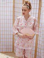 Недорогие -Взрослые Жен. Кимоно Кимоно Jinbei Махровый халат Назначение Halloween На каждый день фестиваль Хлопок Кофты Брюки