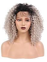 Недорогие -Синтетические кружевные передние парики Кудрявый / Kinky Curly Темно-серый Свободная часть Черный / серый 130% / 150% Человека Плотность волос Искусственные волосы 14 дюймовый Жен. / Лента спереди