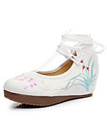 Недорогие -Жен. Полотно Весна Обувь на каблуках Туфли на танкетке Черный / Красный / Синий