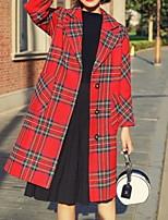 Недорогие -Жен. Повседневные Длинная Пальто, В клетку Лацкан с тупым углом Длинный рукав Полиэстер Зеленый / Красный M / L / XL
