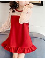 Недорогие -Дети Девочки Симпатичные Стиль Однотонный Кружева Длинный рукав Мини Полиэстер Платье Красный