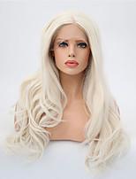 Недорогие -Синтетические кружевные передние парики Матовое стекло / Естественные кудри Блондинка Средняя часть Платиновый блондин Искусственные волосы 24 дюймовый Жен. Регулируется / Жаропрочная Блондинка Парик