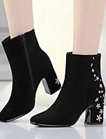 Недорогие -Жен. Наппа Leather Осень Ботинки На толстом каблуке Сапоги до середины икры Черный