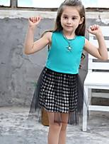 Недорогие -Дети Девочки Однотонный Сетка Хлопок Платье Черный