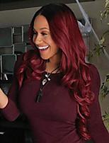 Недорогие -Парики из искусственных волос Свободные волны Вино Средняя часть Черный / Бургундия Искусственные волосы 22 дюймовый Жен. Для темнокожих женщин Вино / Омбре Парик Длинные Без шапочки-основы