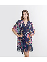 cheap -Short Sleeve Polyester Wedding / Party / Evening Women's Wrap With Pattern / Print / Tassel Coats / Jackets