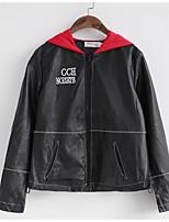 Недорогие -Муж. Повседневные Весна Обычная Куртка, Однотонный Капюшон Длинный рукав Полиэстер Черный L / XL
