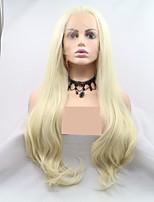 Недорогие -Синтетические кружевные передние парики Крупные кудри / Loose Curl Белый Стрижка каскад Отбеливатель Blonde 130% Человека Плотность волос Искусственные волосы 24 дюймовый Жен. Женский Белый Парик