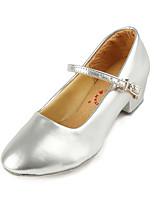 Недорогие -Девочки Обувь для модерна Полиуретан На каблуках Толстая каблук Танцевальная обувь Серебряный