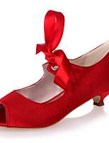 Недорогие -Жен. Сатин Весна лето Милая Свадебная обувь На конусовидном каблуке Открытый мыс Ленты Синий / Светло-коричневый / Со стразами / Свадьба / Для вечеринки / ужина
