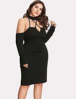 Недорогие -Жен. Классический Облегающий силуэт Оболочка Платье - Однотонный До колена