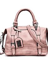 Недорогие -Жен. Мешки PU Сумка-шоппер Пуговицы / Молнии Сплошной цвет Розовый / Серый / Коричневый