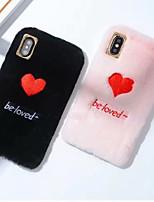 Недорогие -Кейс для Назначение Apple iPhone XS Max / iPhone 6 Защита от удара Кейс на заднюю панель С сердцем Мягкий текстильный для iPhone XS / iPhone XR / iPhone XS Max