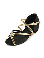 Недорогие -Девочки Обувь для латины Сатин На каблуках Толстая каблук Танцевальная обувь Черный