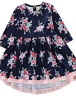 Недорогие -Дети (1-4 лет) Девочки Активный Цветочный принт С принтом Длинный рукав До колена Полиэстер Платье Темно синий