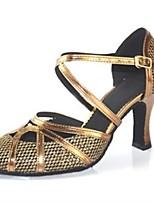 Недорогие -Жен. Обувь для модерна Синтетика На каблуках Планка Толстая каблук Персонализируемая Танцевальная обувь Темно-коричневый