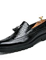 Недорогие -Муж. Кожаные ботинки Наппа Leather Весна лето Деловые / Английский Мокасины и Свитер Доказательство износа Контрастных цветов Черный / Винный / Черно-белый