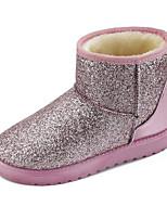 Недорогие -Жен. Синтетика Зима Ботинки На плоской подошве Ботинки Черный / Серый / Розовый