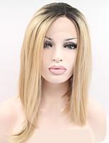 Недорогие -Синтетические кружевные передние парики Естественные прямые Золотистый Стрижка боб / Стрижка каскад Черный и золотой 130% Человека Плотность волос Искусственные волосы 12 дюймовый Жен.