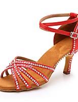 Недорогие -Жен. Обувь для латины Сатин На каблуках Стразы Тонкий высокий каблук Персонализируемая Танцевальная обувь Красный