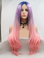 Недорогие -Синтетические кружевные передние парики Крупные кудри / Loose Curl Синий Стрижка каскад Розовый / Фиолетовый 130% Человека Плотность волос Искусственные волосы 24 дюймовый Жен. / Лента спереди
