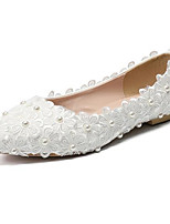 Недорогие -Жен. Полиуретан Лето На каждый день Свадебная обувь На плоской подошве Круглый носок Белый / Свадьба