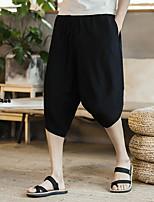 Недорогие -Муж. Гарем Сплетенные брюки Серый Серый + зеленый Вино Виды спорта Сплошной цвет Хлопок Шорты Штаны Тренировка в тренажерном зале Большие размеры Спортивная одежда Легкость Быстровысыхающий
