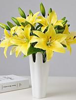 Недорогие -Искусственные Цветы 3 Филиал Классический европейский Простой стиль Лилии Вечные цветы Букеты на стол