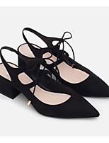Недорогие -Жен. Замша Весна лето Обувь на каблуках На толстом каблуке Черный / Телесный