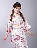 Недорогие -Взрослые Жен. Кимоно Кимоно Jinbei Махровый халат Назначение Halloween На каждый день фестиваль Satin кимоно Пальто Пояс на талию
