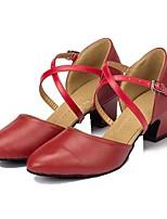 Недорогие -Жен. Обувь для модерна Кожа На каблуках Планка Кубинский каблук Персонализируемая Танцевальная обувь Черный / Красный