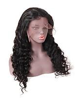 Недорогие -человеческие волосы Remy Лента спереди Парик стиль Бразильские волосы Глубокий курчавый Черный Парик 150% Плотность волос Для темнокожих женщин Черный Жен. Длинные