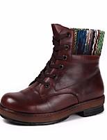 Недорогие -Жен. Наппа Leather Зима Ботинки На низком каблуке Сапоги до середины икры Темно-русый / Темно-коричневый