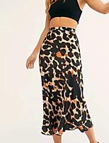 Недорогие -женские юбки миди линейка - леопард