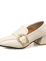Недорогие -Жен. Полиуретан Весна & осень Обувь на каблуках Блочная пятка Белый / Черный / Бежевый
