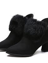Недорогие -Жен. Замша Наступила зима Ботинки На толстом каблуке Ботинки Черный