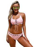 Недорогие -Жен. Классический Розовый С завязками по бокам Бикини Купальники - Однотонный Шнуровка L XL XXL Розовый