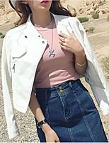 Недорогие -Жен. Повседневные Весна Обычная Кожаные куртки, Однотонный Приподнятый круглый Длинный рукав Искусственная кожа Белый / Черный / Розовый M / L / XL