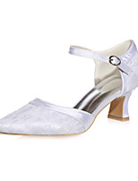 cheap -Women's Wedding Shoes Block Heel Square Toe Buckle Lace / Satin Minimalism Fall / Spring & Summer Pink / Blue / White / Party & Evening