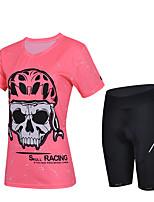 Недорогие -cheji® Жен. С короткими рукавами Велокофты и велошорты - Красный Розовый Темно-розовый Велоспорт Наборы одежды Виды спорта Лайкра Однотонный Горные велосипеды Шоссейные велосипеды Одежда