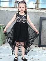 Недорогие -Дети Девочки Однотонный Полиэстер Платье Черный