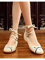 Недорогие -Жен. Полотно Весна Обувь на каблуках На толстом каблуке Белый / Бежевый