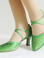 Недорогие -Жен. Обувь для модерна Искусственная кожа На каблуках Планка Толстая каблук Персонализируемая Танцевальная обувь Военно-зеленный