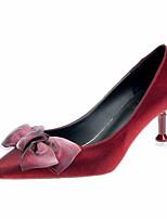 Недорогие -Жен. Сатин / Полиуретан Весна Милая Обувь на каблуках На каблуке-рюмочке Заостренный носок Бант Черный / Винный