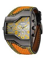 Недорогие -Муж. Спортивные часы Японский Кварцевый Кожа Черный / Синий / Оранжевый Повседневные часы Аналого-цифровые На каждый день - Оранжевый Синий Темно-красный / Нержавеющая сталь