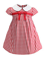 Недорогие -Дети Дети (1-4 лет) Девочки Классический Милая Шахматка С короткими рукавами Выше колена Платье Красный