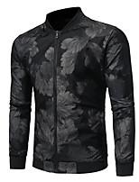 Недорогие -Муж. Повседневные Уличный стиль Обычная Куртка, Геометрический принт V-образный вырез Длинный рукав Полиэстер С принтом Черный M / L / XL